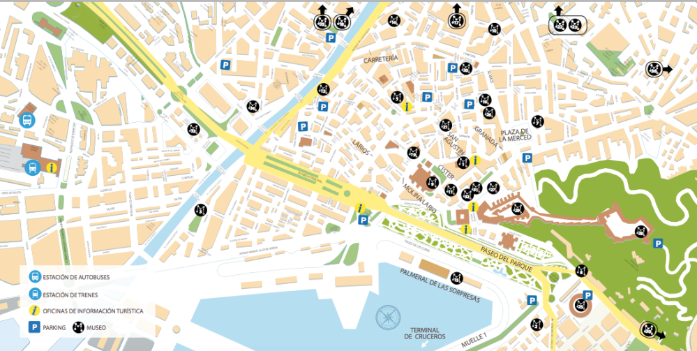 Mapa museos de Málaga