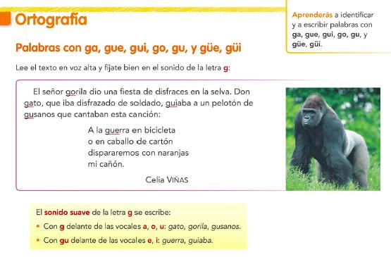 9.2. Palabras con ga, gue, gui, go, gu, güe y güi. Ortografía