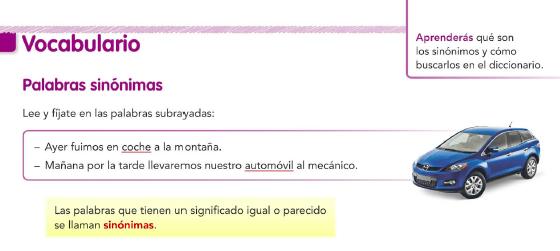 9.3. Sinónimos. Vocabulario