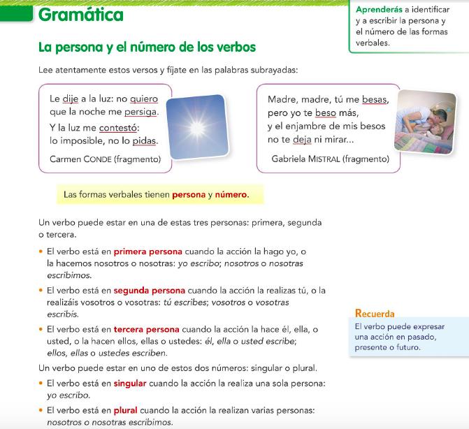 10.1. La persona y los números de los verbos