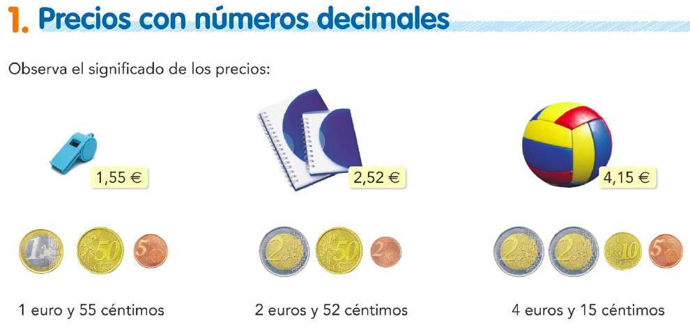 1. Precios con números decimales