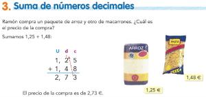 3. Suma de números decimales