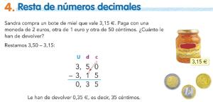 4. Resta de números decimales