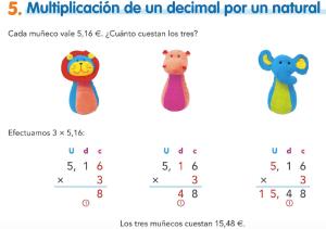 5. Multiplicación de un decimal por un natural
